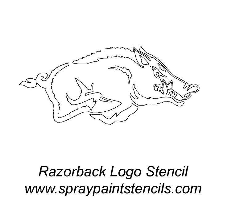 Printable Arkansas Razorback Logo   Razorback Hog - Stencil Outline Version