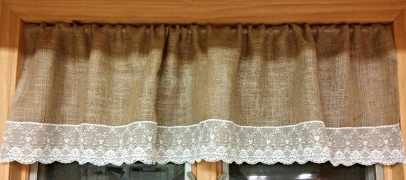 Burlap and lace valence curtain by CourtandSparkDesigns on Etsy