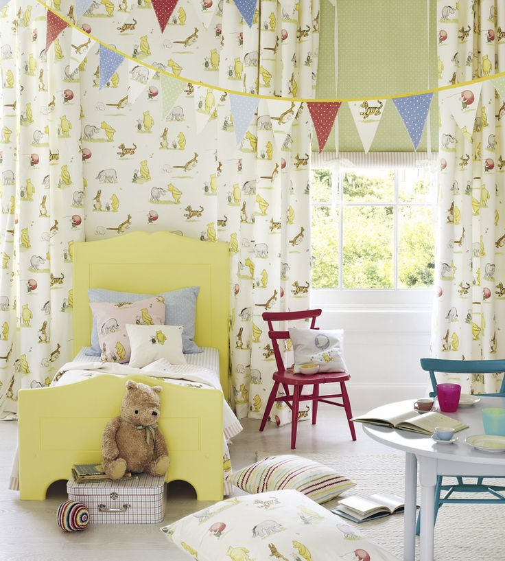 How To Style | Nurseries | Winnie the Pooh Balloon Embroidery Fabric by Jane Churchill | Jane Clayton