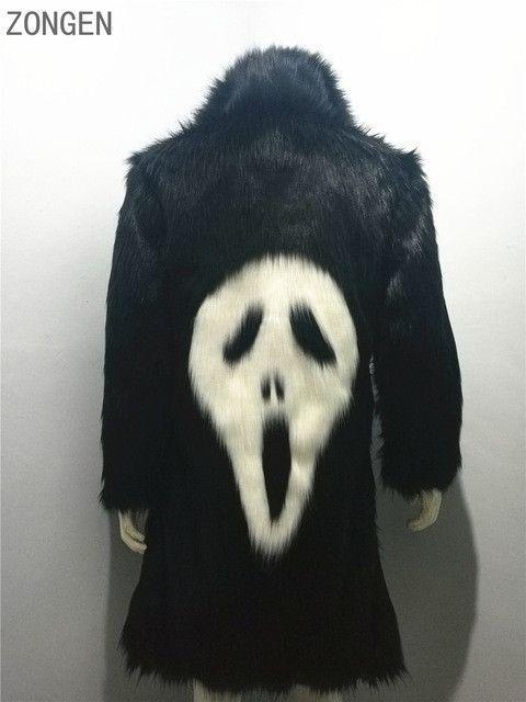 2016 new men's winter faux fur jacket Black gown white devil Style long windbreaker Fox thick warm fashion man leahter fur coat