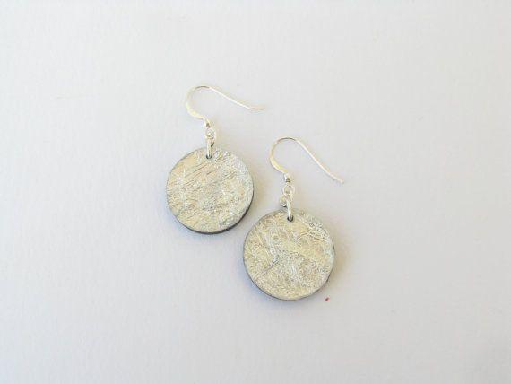 Silver Foil Round EarringsResin Round by SotiriaVasileiou on Etsy