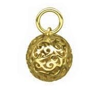 Exquisite balls of solid 9ct gold filigree with a very special treasure inside!  Shake this beautiful ball and the floating Cubic Zirconia crystals will tinkle oh-so-softly. A pendant that you can see and hear!  When the light hits this pendant the sparkle of the Cubic Zirconia shines through the filigree. Gorgeous.