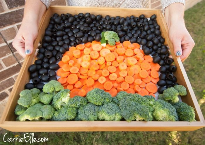 Fall Themed Vegetable Platter - Perfect center piece for Halloween party!