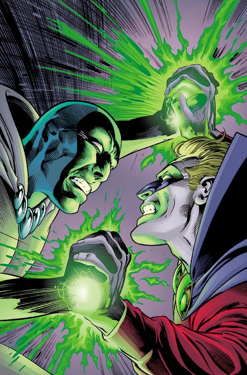 This is the cover for JSA #9, drawn by Alan Davis. This is another cover that might have more resonance if I knew a bit more about the characters involved. I know that the character on the right is Alan Scott, the original Green Lantern (and now DC's...