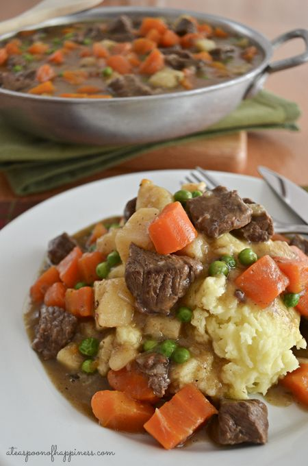Irish Beef Stew, parsnips or turnips in place of potatoes and replace carrots for another veggie