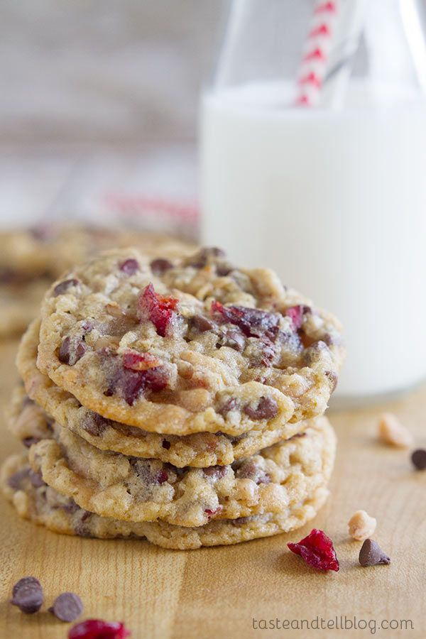 These Chocolate Toffee Cranberry Cookies are packed with chocolate chips, toffee pieces and dried cranberries for a cookie that will leave you craving more.