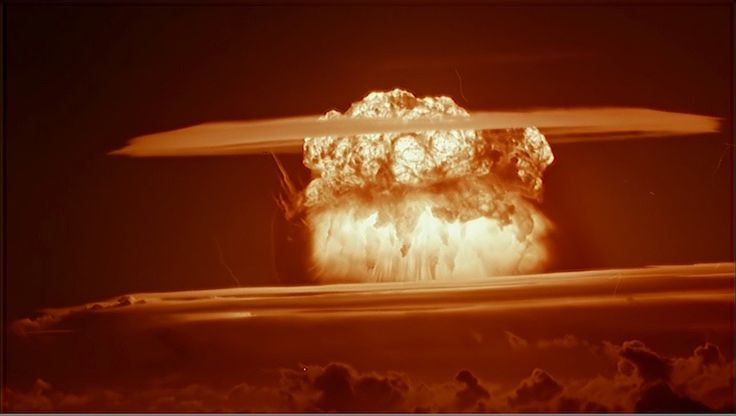 Those Who Witnessed Castle Bravo Looked Into Armageddon. Castle Bravo. U.S. government photo. At top—the explosion's fireball and mushroom cloud photographed from more than 30 miles away.