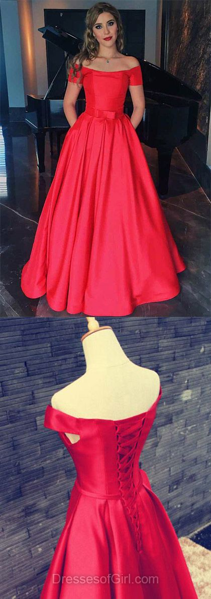 Red Formal Dresses, Vintage A-line Off-the-shoulder party Dresses,  Satin Long Evening Gowns,  Sashes / Ribbons Short Sleeve Prom Dresses