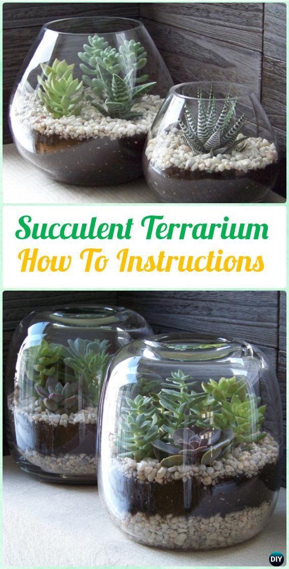 DIY Glass Succulent Terrarium Garden Instruction- DIY Indoor  #Succulent Garden Ideas Projects