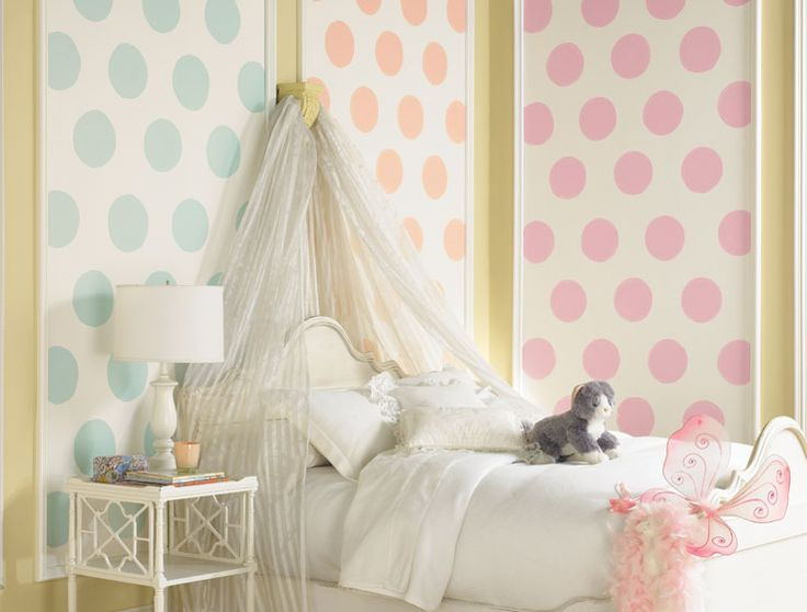 Start with a palette of sweet, soft colors. Add in pop art appeal by framing out the oversized polka dot pattern painted on the wall. Balance with pure white accessories. Viola. You've just created a room with a carefree, whimsical attitude.