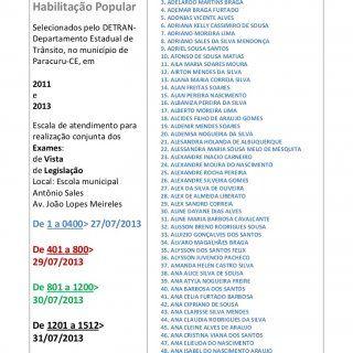 Carteira Nacional de Habilitação Popular Selecionados pelo DETRAN- Departamento Estadual de Trânsito, no município de Paracuru-CE, em 2011 e 2013 Escala de. http://slidehot.com/resources/cnh-popular-selecaoparacuru-ce-2001e2013.57842/