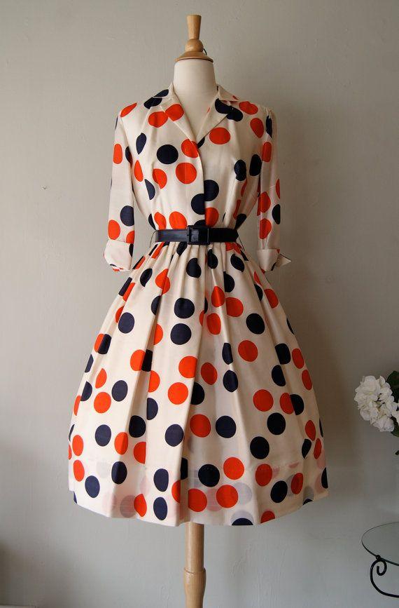 FABULOUS 1950's Silk Polka Dot Print Dress by by xtabayvintage