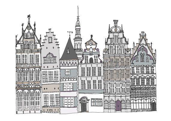 Antwerp Buildings Print A4 Illustration by helenacarrington