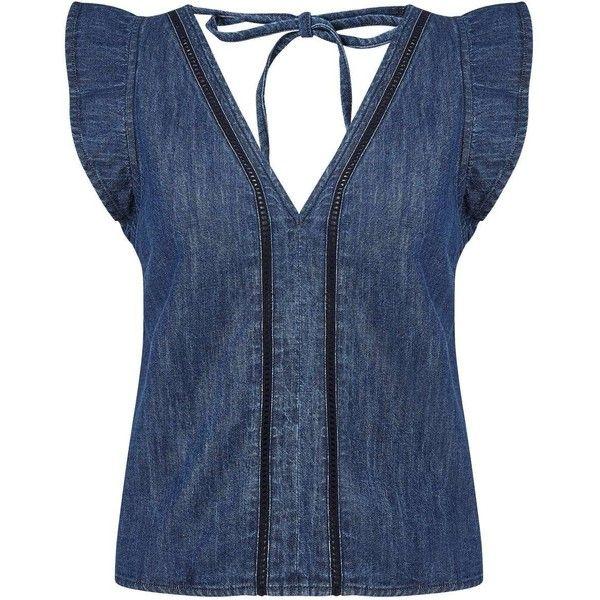 Miss Selfridge PETITE Crochet Insert Top (£39) ❤ liked on Polyvore featuring tops, blue, petite, blue top, crochet detail top, miss selfridge, petite tops and miss selfridge tops
