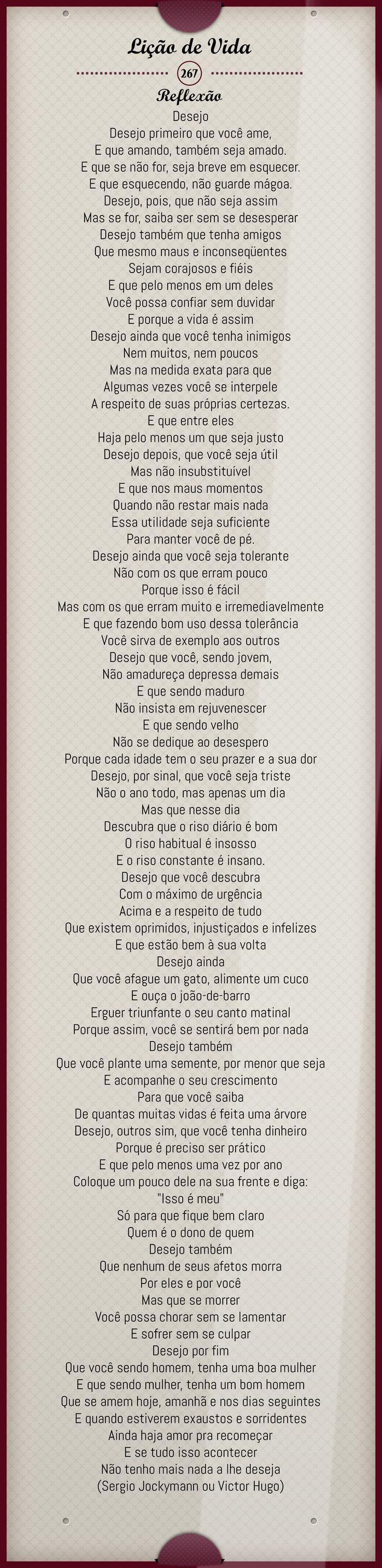 Desejo  ... (Sergio Jockymann ou Victor Hugo)