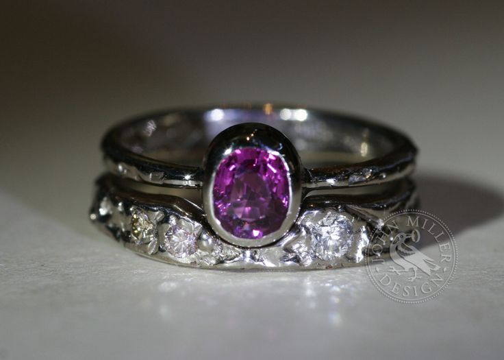 What an amazing colour sapphire! The array of colours available in sapphires is absolutely fantastic. 'Sakura' was created with a tapering fused 18ct white gold band, set with an intense pink sapphire. We then made a matching fused 18ct White Gold wedder to match, which they then had diamonds set into.