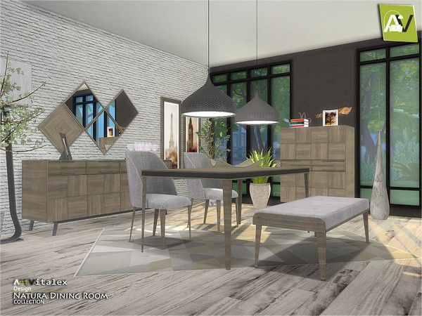 Natura Dining Room By Artvitalex For The Sims 4 Spring4sims Sims House Sims 4 Kitchen Sims 4 City Living
