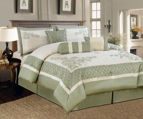 "7 Piece King Nina Embroidered Comforter Set Sage by KingLinen. $89.99. This beautiful ensemble features floral and lattice border in serene sage and ivory, an eclectic set that will be great for any bedroom. 3 decorative pillows included.FeaturesSize: KingColor: Sage/Ivory100% PolyesterMachine washableThis set includes:1  Comforter (101""x86"")2  Shams (20""x36"")1  Bedskirt(78""x80""+14"")3  Decorative Cushions"