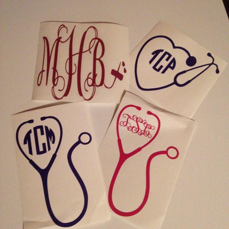 Monogram Decal / Stethoscope Heart Monogram / Phlebotomy