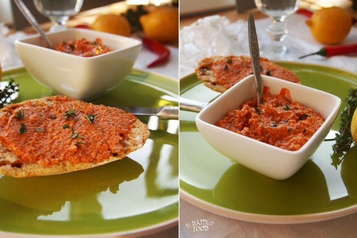 Острый дип из запеченных перцев (постный рецепт)