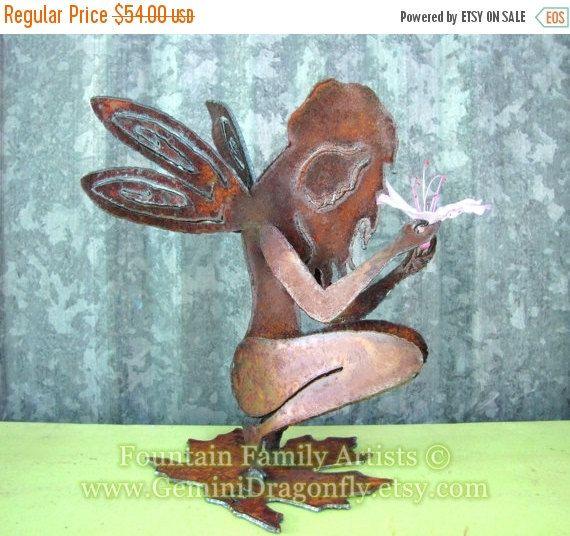 Rusty Garden Fairy Recycled Metal Garden Art or Nursery Decor by GeminiDragonfly on Etsy