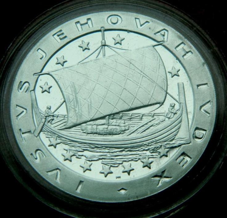 ПРУФ Дания Экю парусник корабль викингов СЕРЕБРО Danmark ecu viking ship silver
