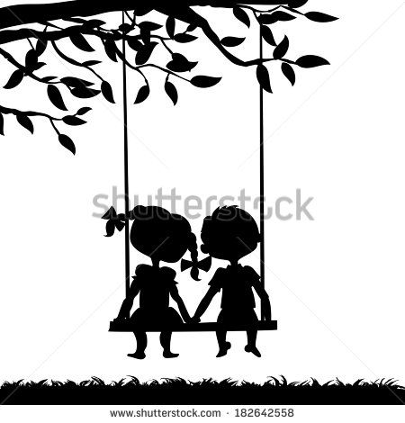 Swing Set Silhouette | Silhouettes of a boy and a girl sitting on a swing - stock vector