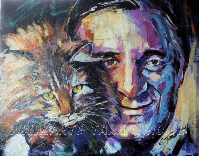 Helmut Fischer, der ewige Stenz - Acryl auf Leinwand 100 x100 cm