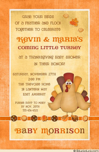 Little Turkey Baby Shower Invitation