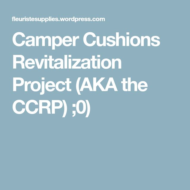 Camper Cushions Revitalization Project (AKA the CCRP) ;0)
