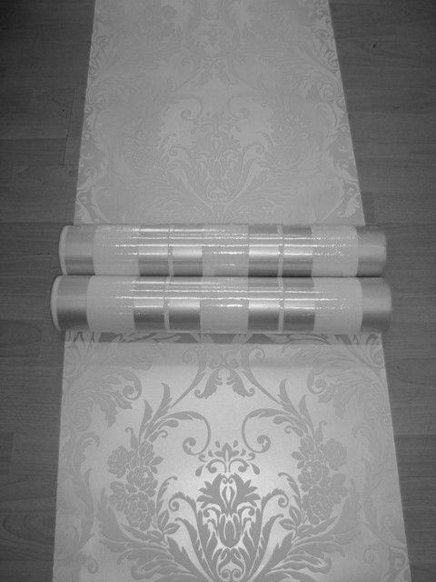 brocant barok behang wit zilver vinyl 90