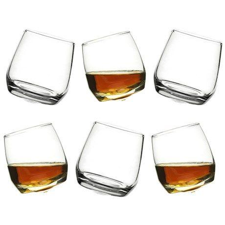 Seks skjeve whiskeyglass i en elegant og morsom form!