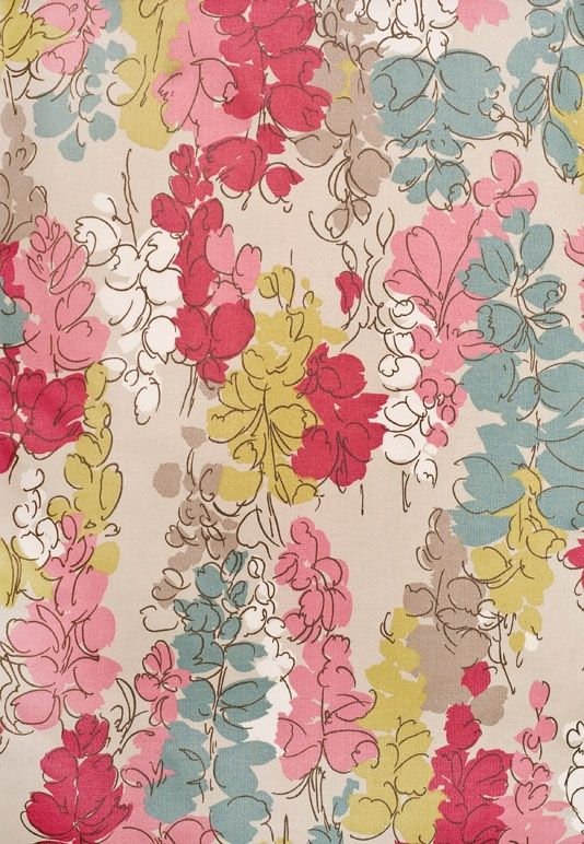 Fairfield Floral Curtain Fabric Thin light taupe cotton curtain fabric with dense aqua and fuchsia floral print. Suitable for curtains.