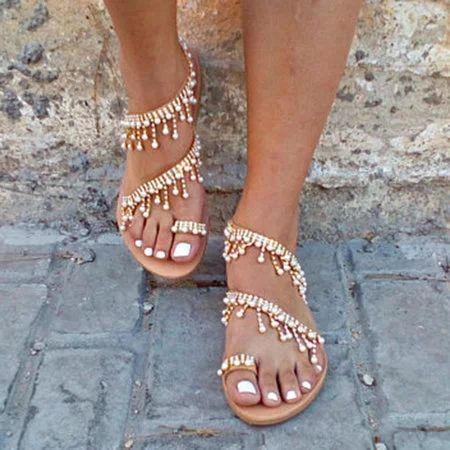 aec15780c129 Women Bohemian Style Sandals Casual Beach Pearls Shoes - gifthershoes