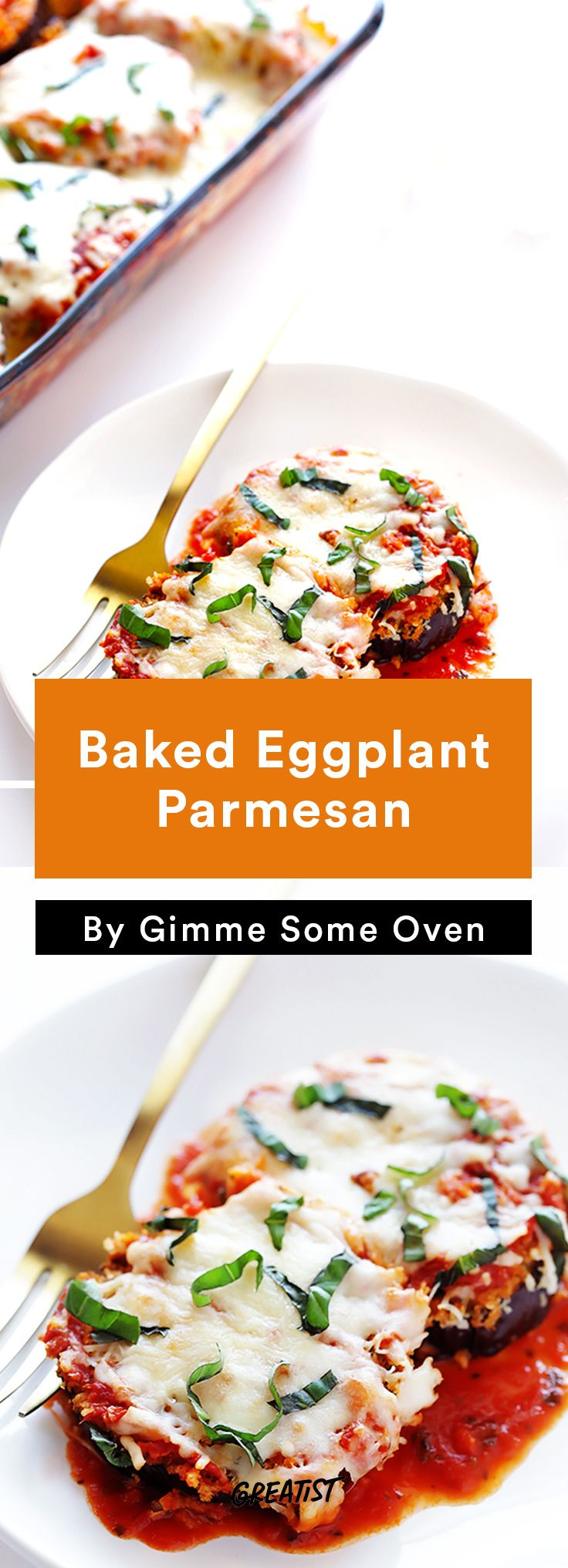 1. Baked Eggplant Parmesan #easy #vegetarian #dinners http://greatist.com/eat/vegetarian-dinner-recipes-that-bake-in-one-pan