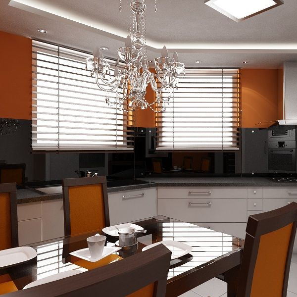 Modern kitchen with glamour accents.
