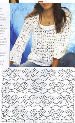 Crochet sweater with chart