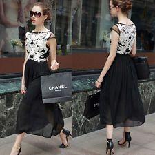 женщин кружева шифона вышитое шикарная вечеринка выпускного вечера длиной Vogue платье черный L cxs01