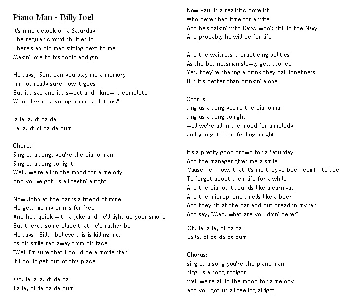Valerie Lyrics And Piano Notes: 1000+ Ideas About Piano Man Song On Pinterest