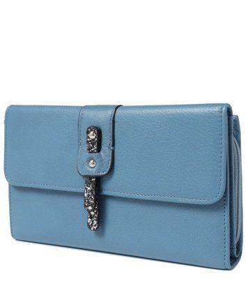 Синий кошелек женский из натуральной кожи