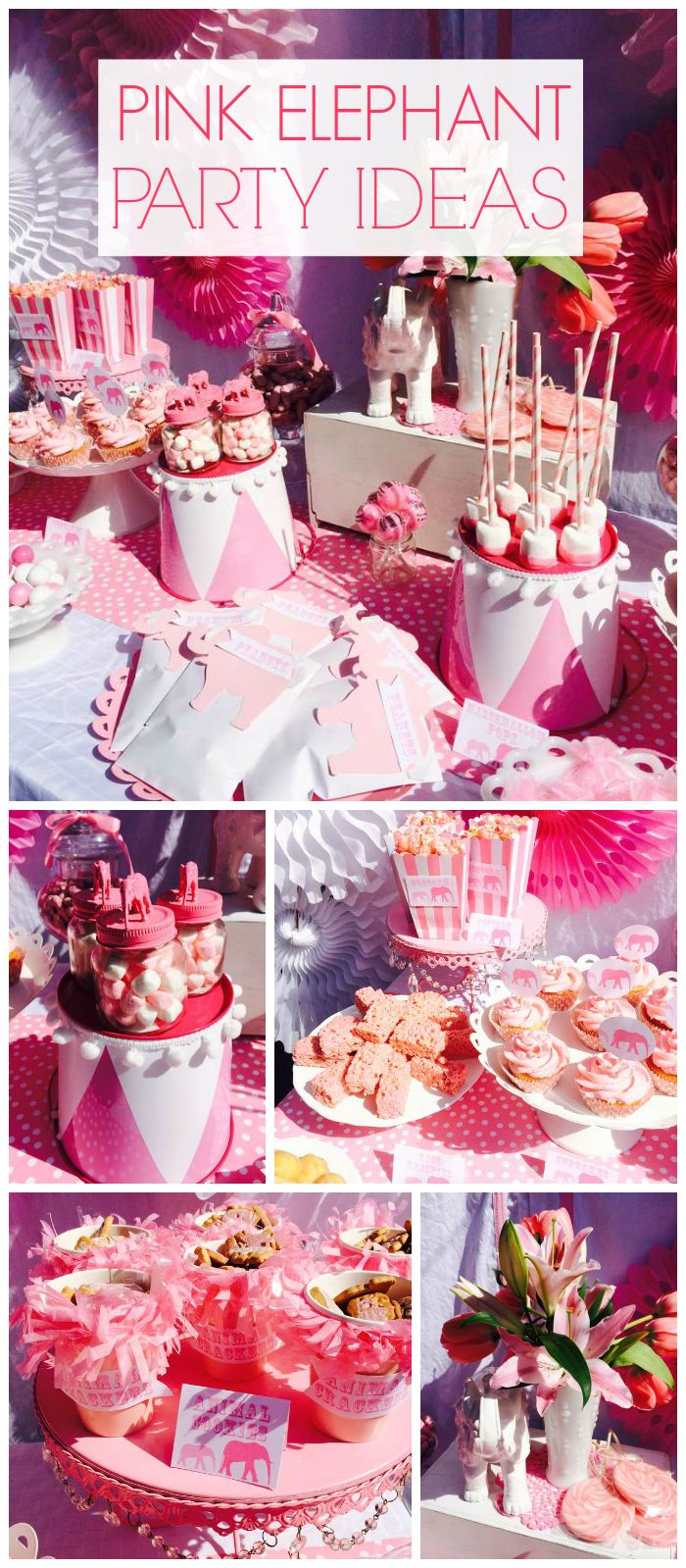 This little pink circus elephant baby shower is super sweet! See more party ideas at CatchMyParty.com!
