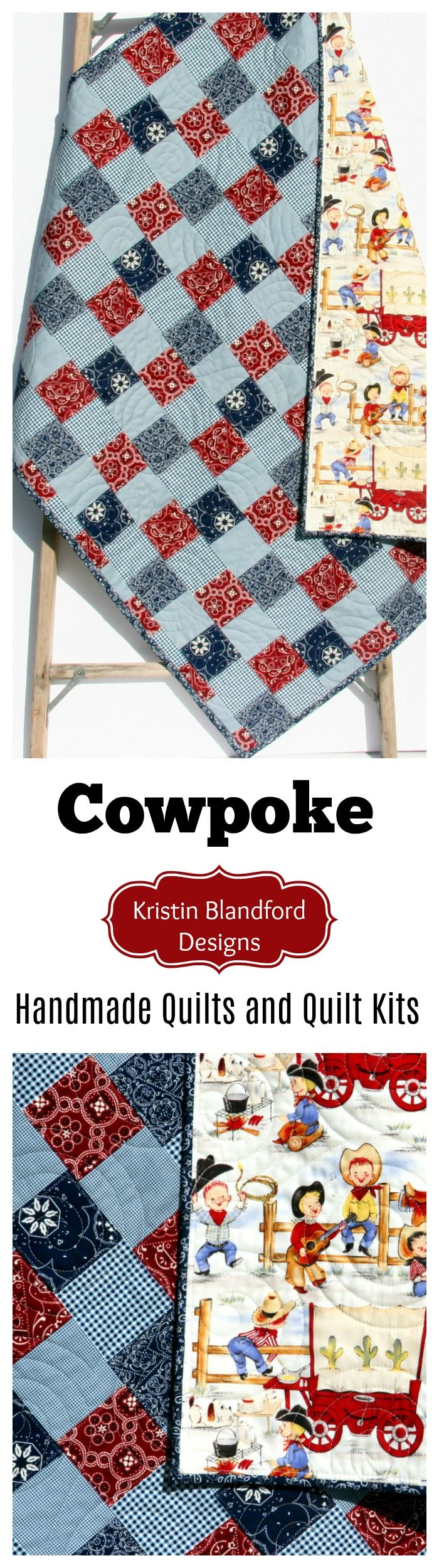 Handmade Western Baby Quilt, Toddler Quilt, Faux Patchwork Cheater Panel Quilt Kit, Baby Quilt Kit, Toddler Quilt Kit, Simple Quick Easy Sewing Quilting Project Western Cowboy Baby Shower Gift Ideas Cowgirl Baby Bedding Nursery Blanket by Kristin Blandford Designs