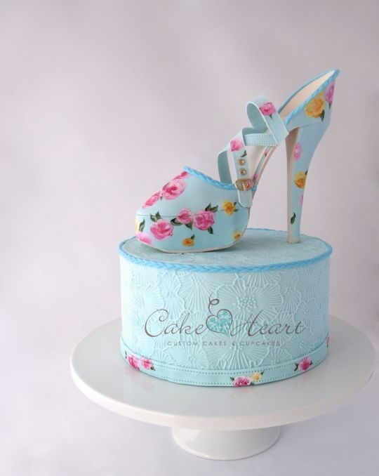 'Blue Floral Mary Jane Stiletto Shoe' Cake