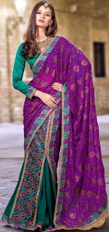 Purple and Green Lehenga-Style Sari with Painted Paisleys and Patch Border
