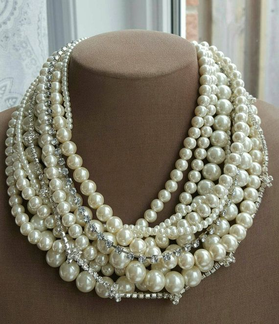 Check out this item in my Etsy shop https://www.etsy.com/ca/listing/491156088/chunky-multilayer-pearl-statement