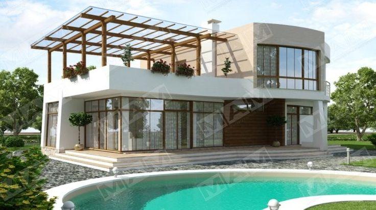 Современный стильный коттедж хай-тек с огромной террасой