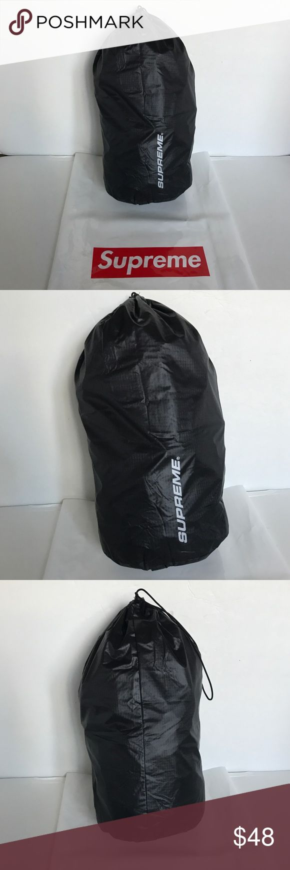 SUPREME 9L. Black Drawstring Ditty Bag 100% Authentic Brand New..  SUPREME 9L. Black Drawstring Ditty Bag  If you are familiar with Supreme, you know that they do not come with tags. They come in plastic bags. This Ditty bag came in a set so it is Brand New but does not come with the plastic bag. 100% Authentic, purchased online from Supreme New York Supreme Bags Travel Bags