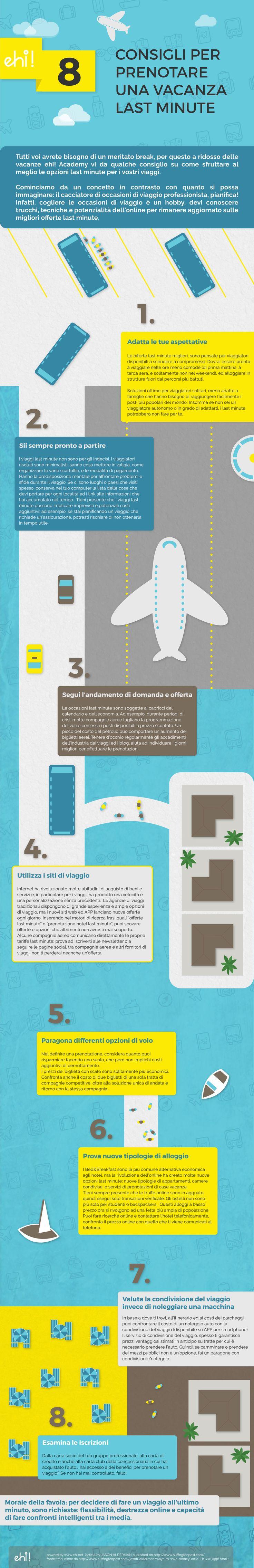 consigli per prenotare una vacanza last minute #lastminute #holyday #vacation #flight #icondesign #infografica #infographic