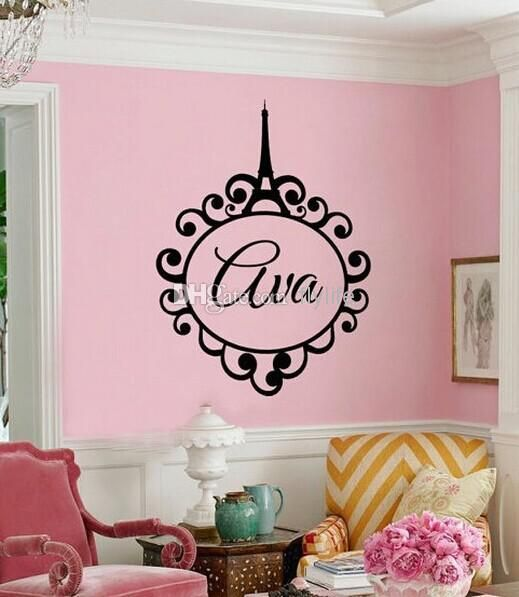 Custom Made Personalized Name Eiffel Tower Monogram Paris Girls Monogram  Quote Vinyl Wall Decal Sticker Home Part 62