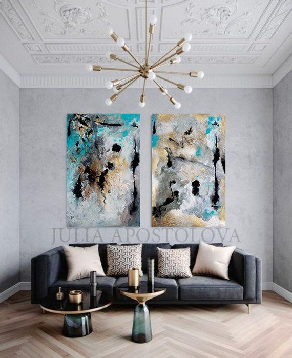 Grey Abstract Art Gold Leaf Painting Extra Large Wall Art Etsy Gold Leaf Decor Grey Abstract Art Extra Large Wall Art